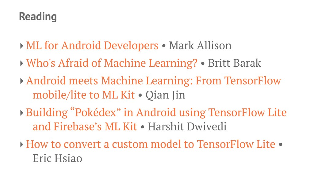 Reading ‣ ML for Android Developers • Mark Alli...