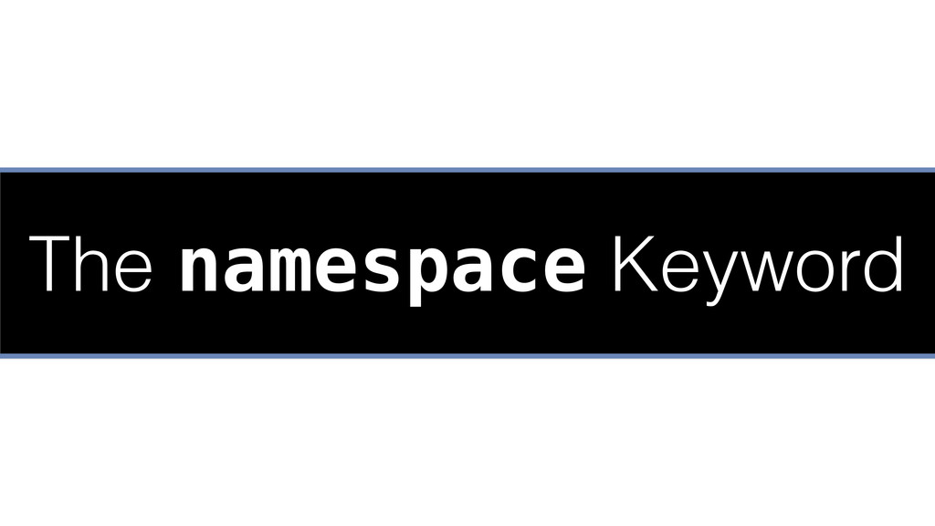 The namespace Keyword