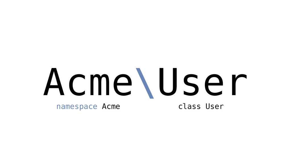Acme\User namespace Acme class User