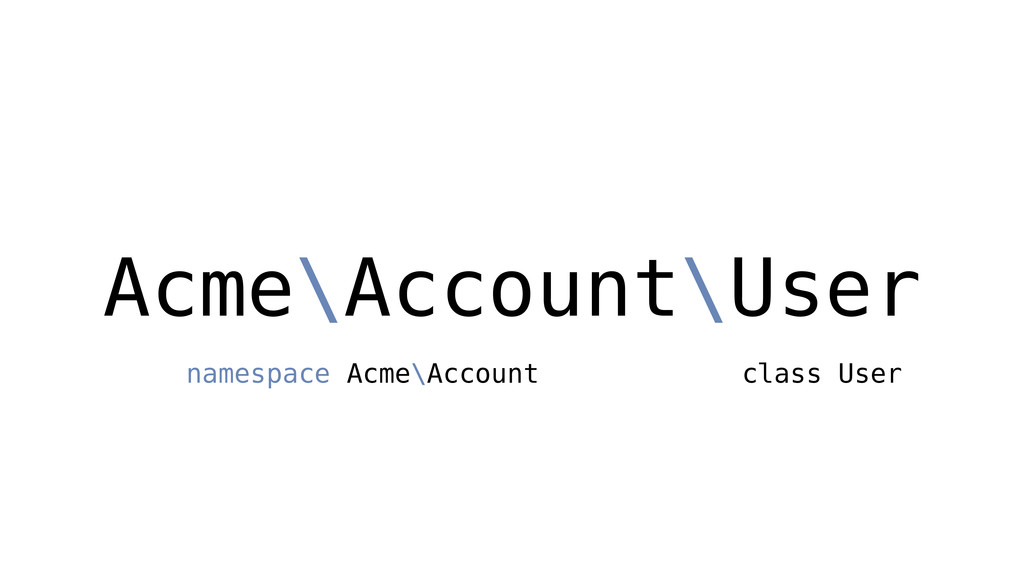 Acme\Account\User namespace Acme\Account class ...