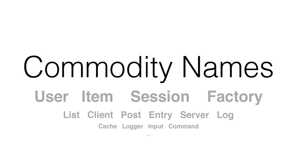Commodity Names User Item Session Factory! List...