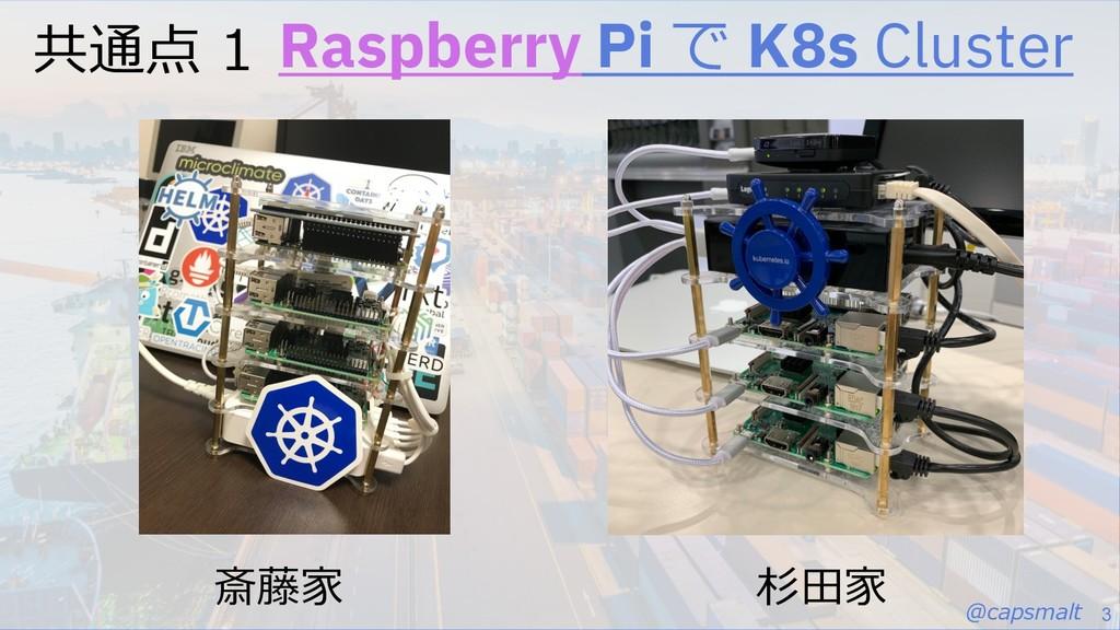 @capsmalt 3 共通点 1 Raspberry Pi で K8s Cluster 斎藤...