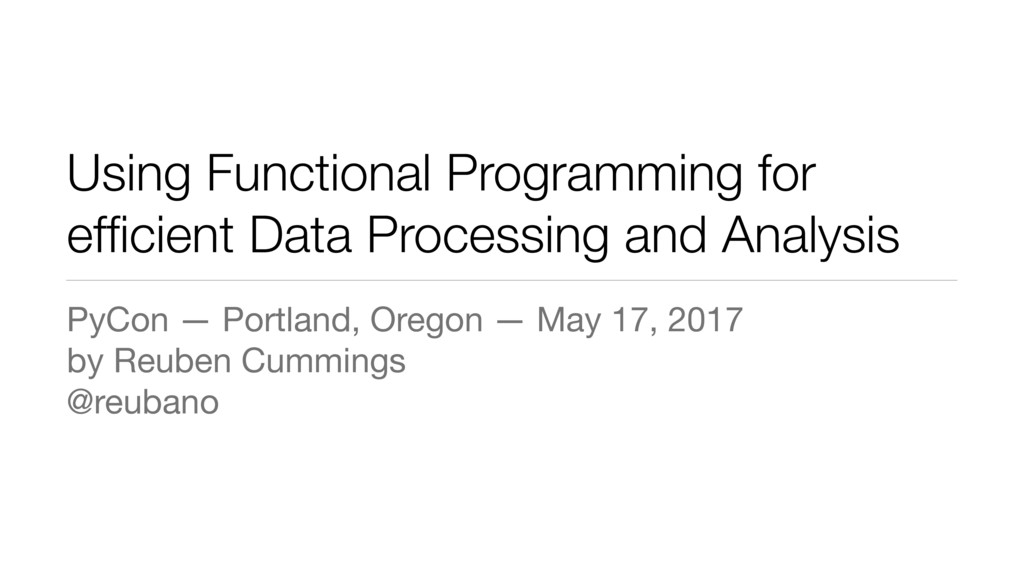Using Functional Programming for efficient Data ...