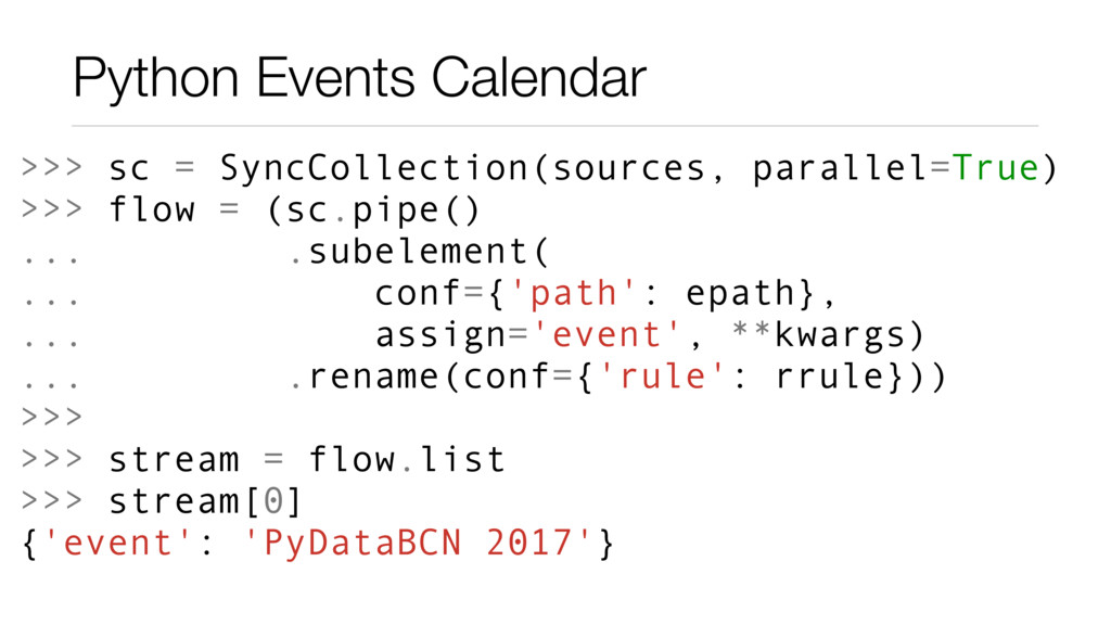 Python Events Calendar >>> sc = SyncCollection(...