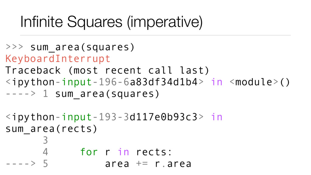 Infinite Squares (imperative) >>> sum_area(squar...