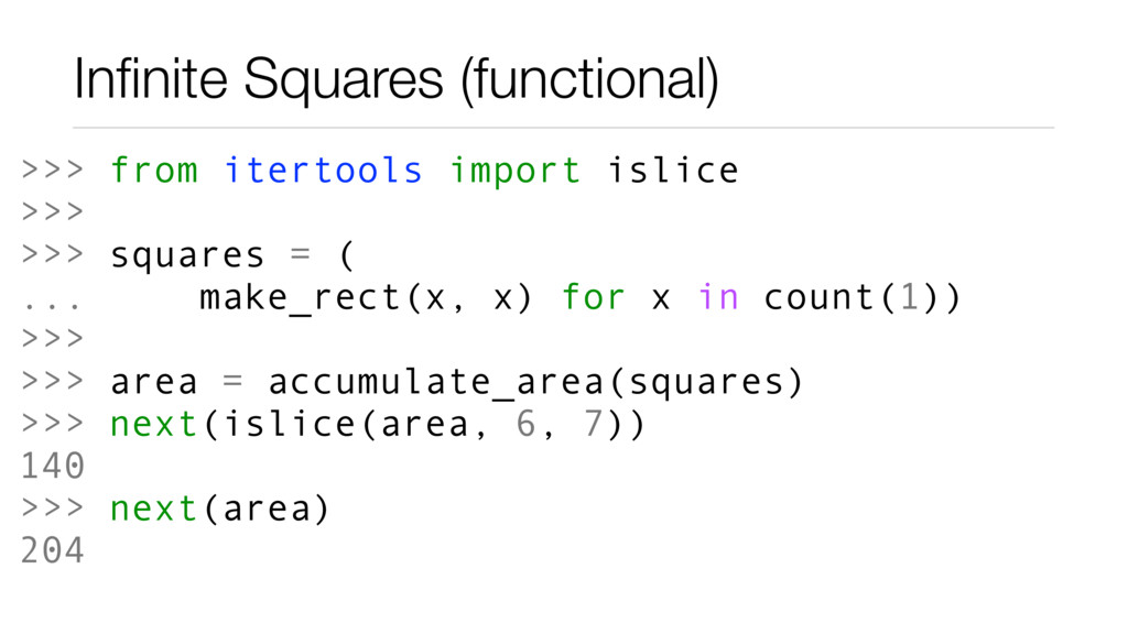 Infinite Squares (functional) >>> from itertools...
