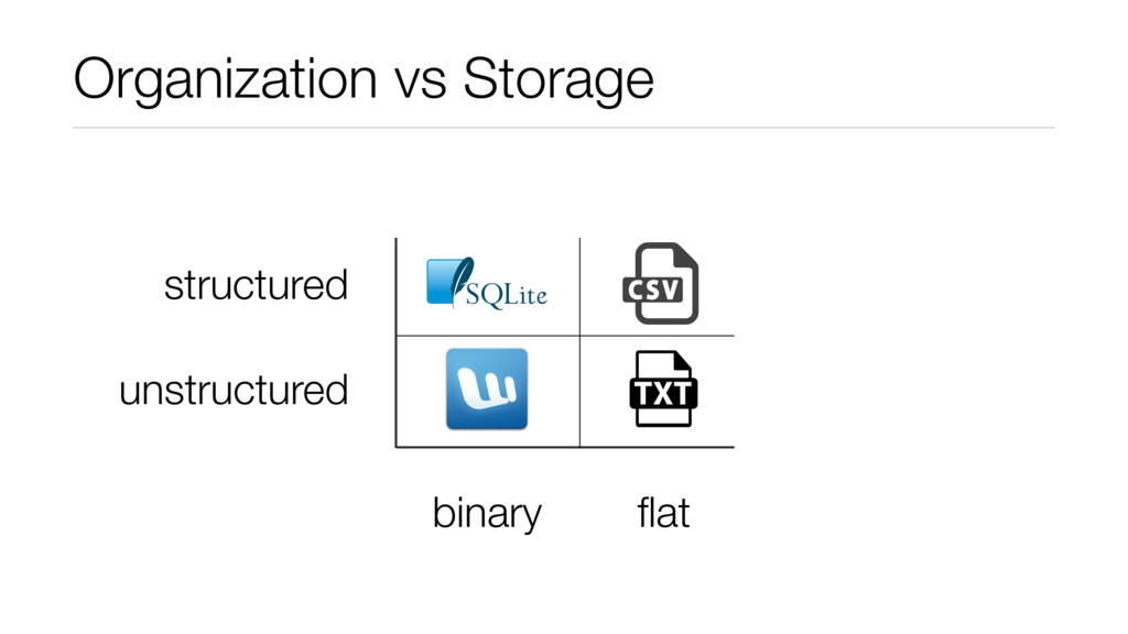 Organization vs Storage flat binary structured u...