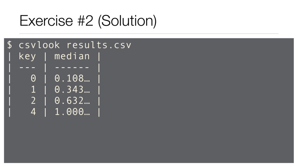 Exercise #2 (Solution) $ csvlook results.csv | ...