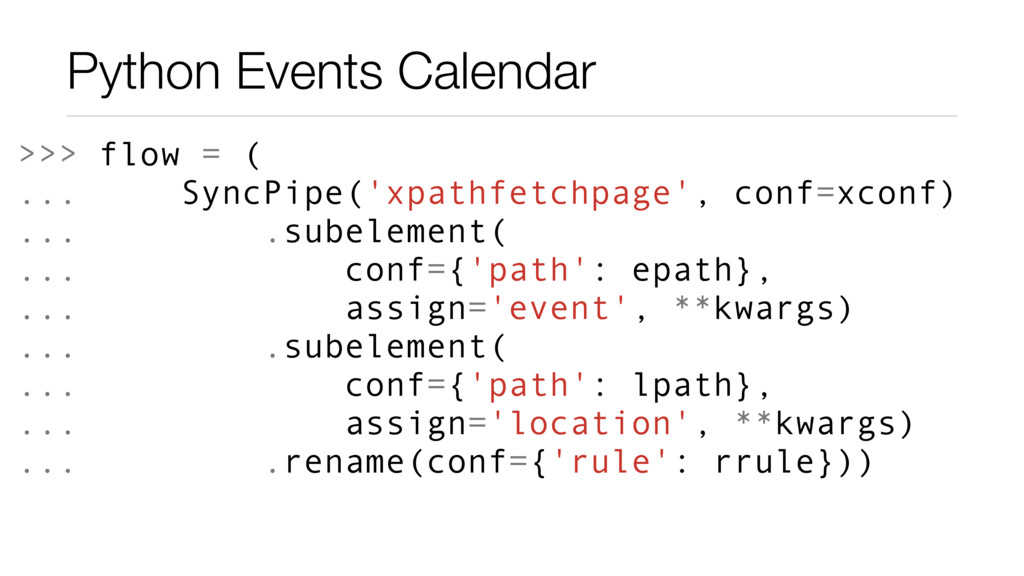 Python Events Calendar >>> flow = ( ... SyncPip...