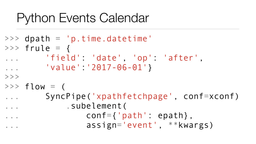 Python Events Calendar >>> dpath = 'p.time.date...