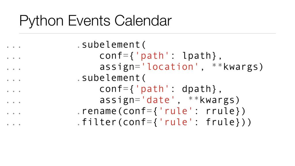 Python Events Calendar ... .subelement( ... con...
