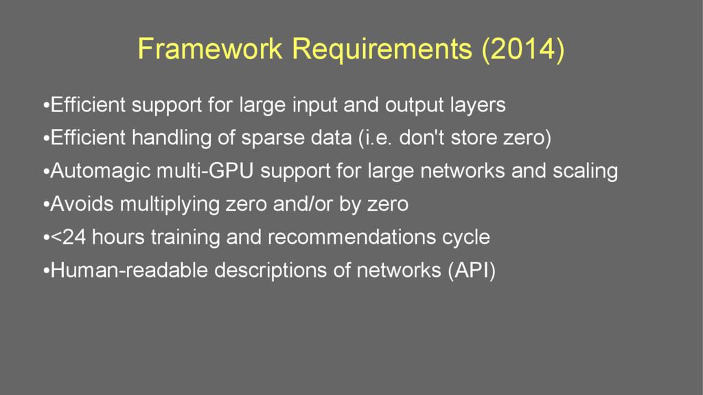 Framework Requirements (2014) ● Efficient suppo...