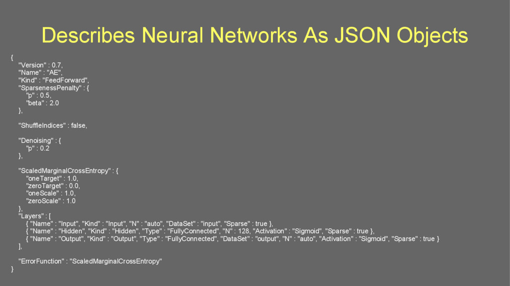 "Describes Neural Networks As JSON Objects { ""Ve..."