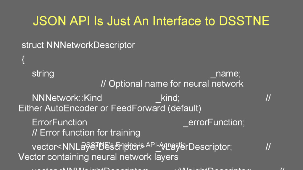 JSON API Is Just An Interface to DSSTNE struct ...