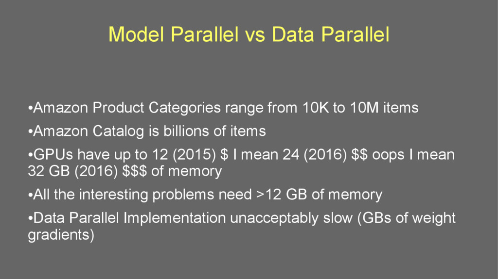 Model Parallel vs Data Parallel ● Amazon Produc...