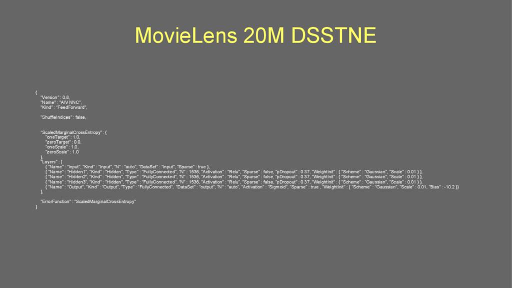 """MovieLens 20M DSSTNE { """"Version"""" : 0.8, """"Name"""" ..."""