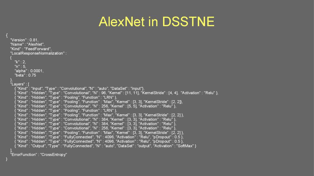 """AlexNet in DSSTNE { """"Version"""" : 0.81, """"Name"""" : ..."""