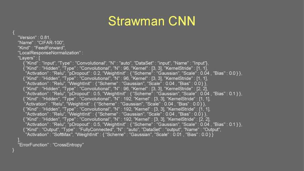 """Strawman CNN { """"Version"""" : 0.81, """"Name"""" : """"CIFA..."""