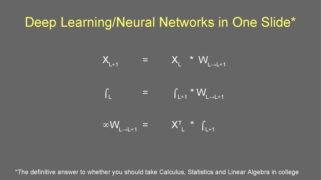 Deep Learning/Neural Networks in One Slide* X L...