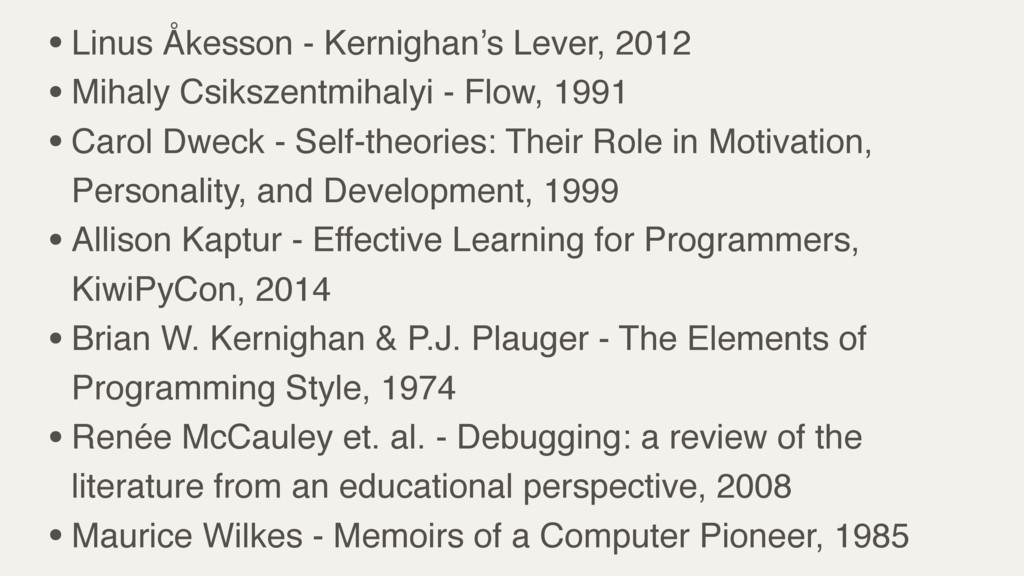 •Linus Åkesson - Kernighan's Lever, 2012 •Mihal...