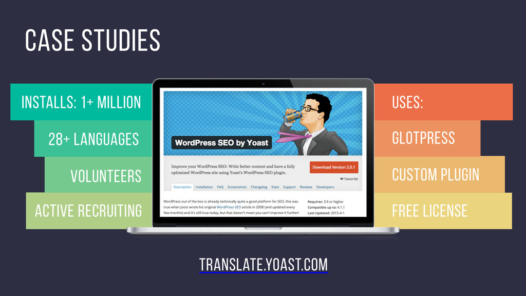 28+ languages volunteers Case studies GlotPress...