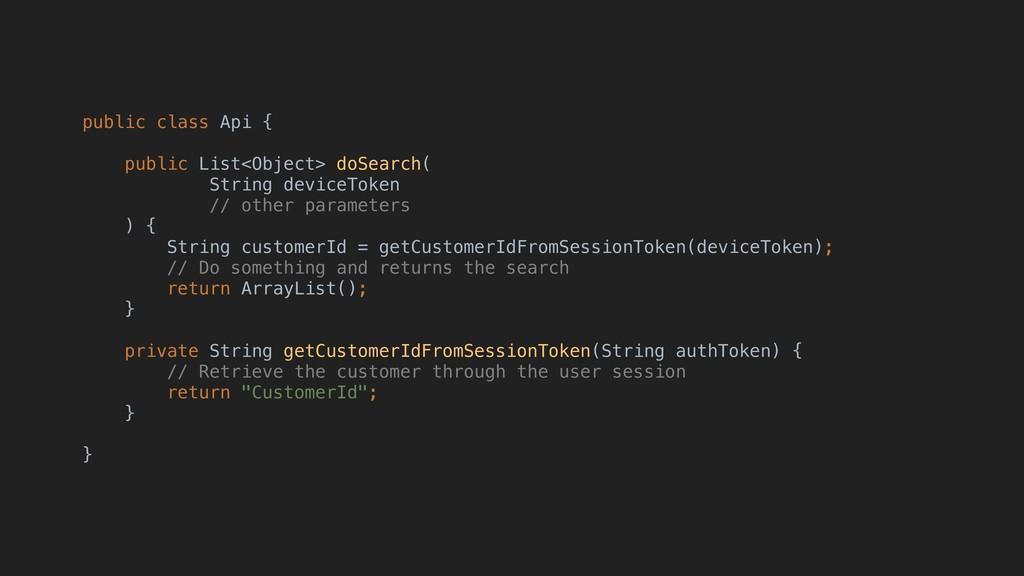 public class Api { public List<Object> doSearch...