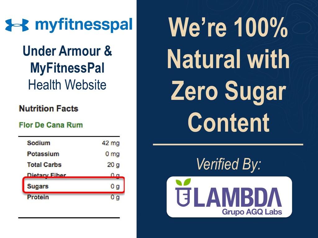 We're 100% Natural with Zero Sugar Content Veri...