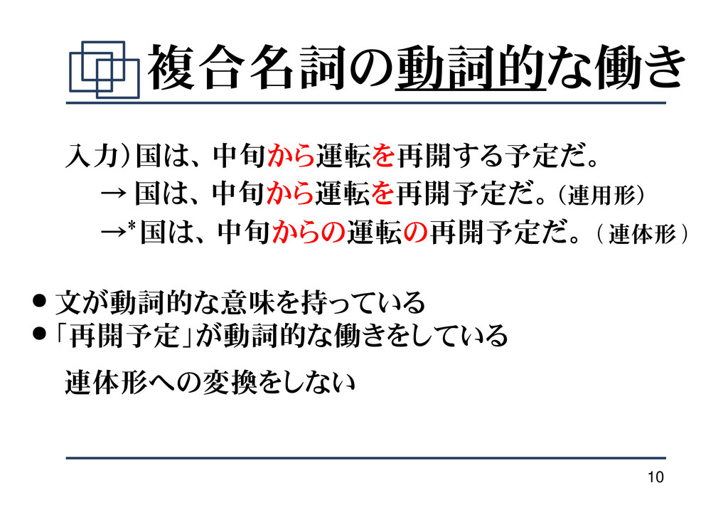10 複合名詞の動詞的な働き 入力)国は、中旬から運転を再開する予定だ。 → 国は、中旬から運...