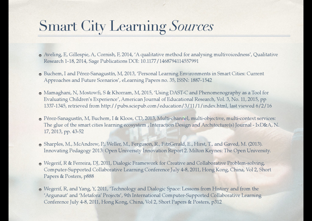 Smart City Learning Sources Aveling, E, Gillesp...