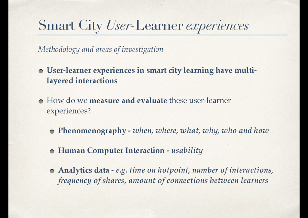 Smart City User-Learner experiences User-learne...