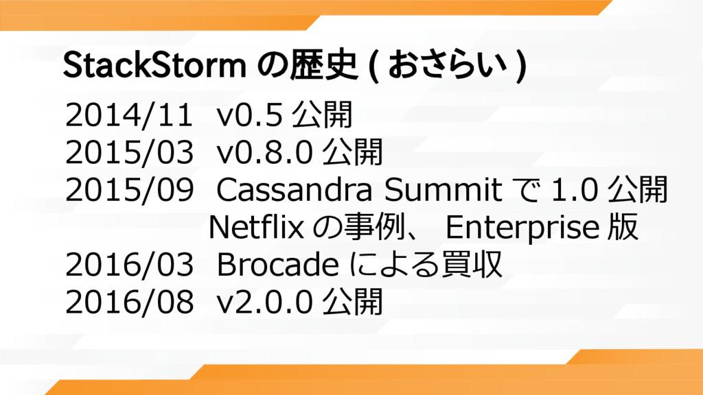 StackStorm の歴史 ( おさらい ) 2014/11 v0.5 公開 2015/03...