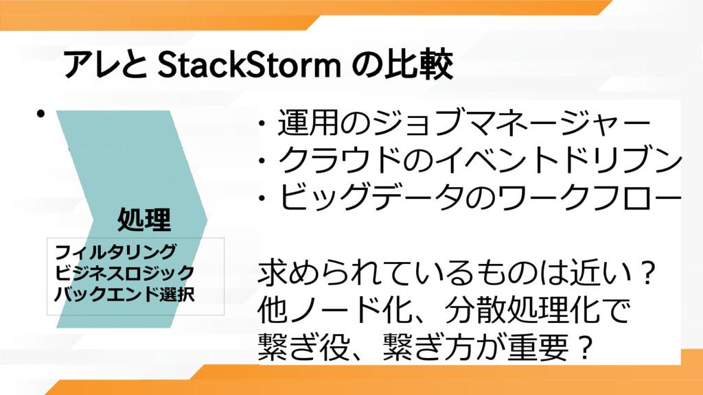 アレと StackStorm の比較 •   処理 フィルタリング ビジネスロジック バックエ...