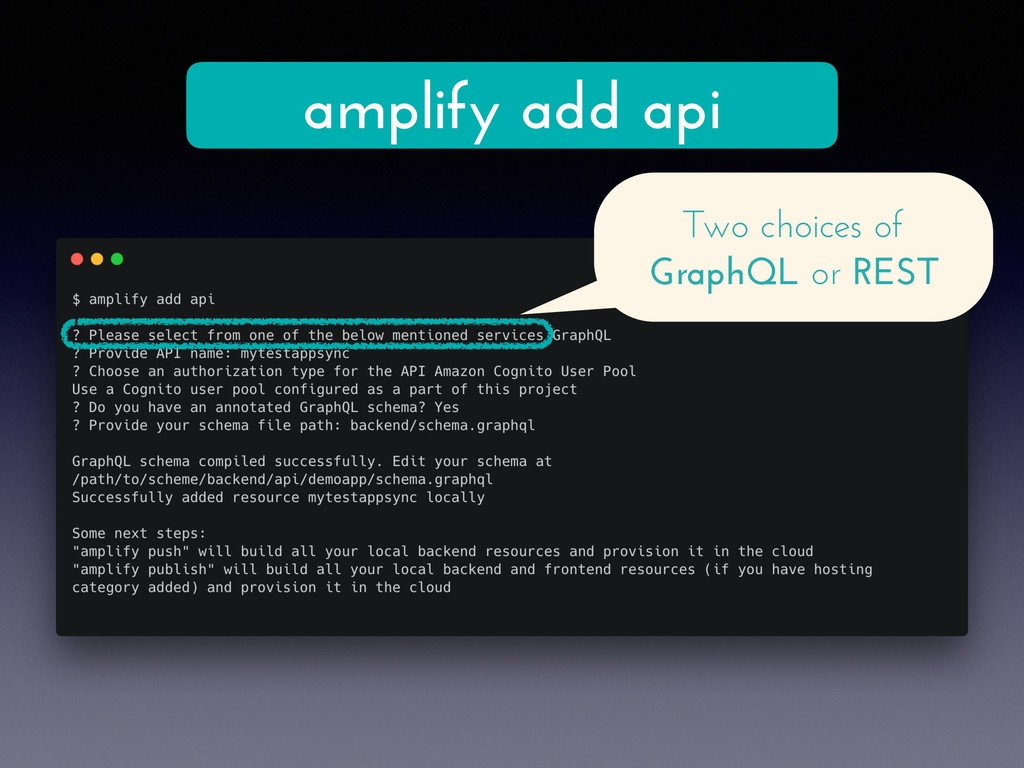 amplify add api Two choices of GraphQL or REST