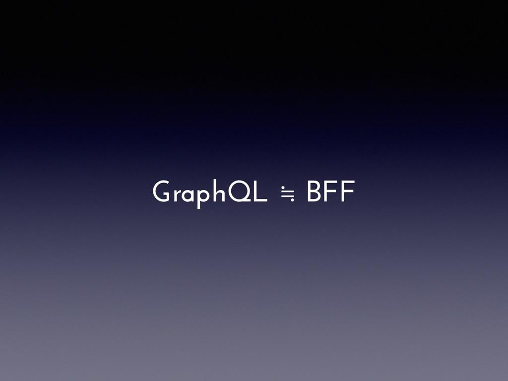 GraphQL ≒ BFF