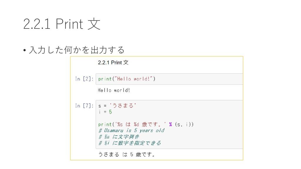 2.2.1 Print 文 • 入力した何かを出力する