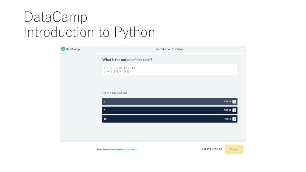DataCamp Introduction to Python