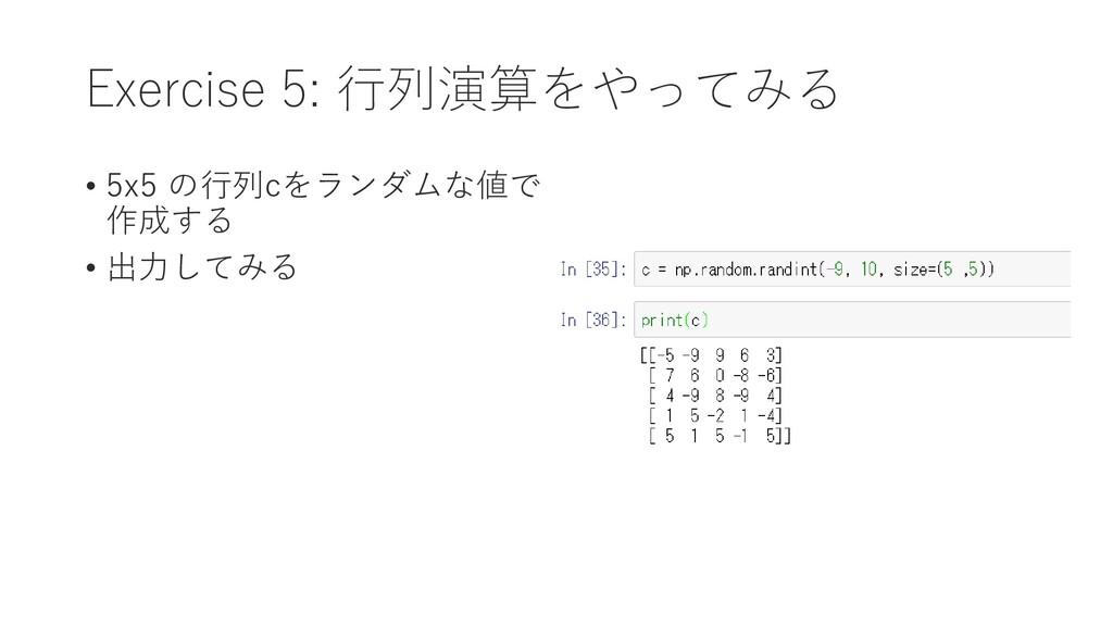 Exercise 5: 行列演算をやってみる • 5x5 の行列cをランダムな値で 作成する ...