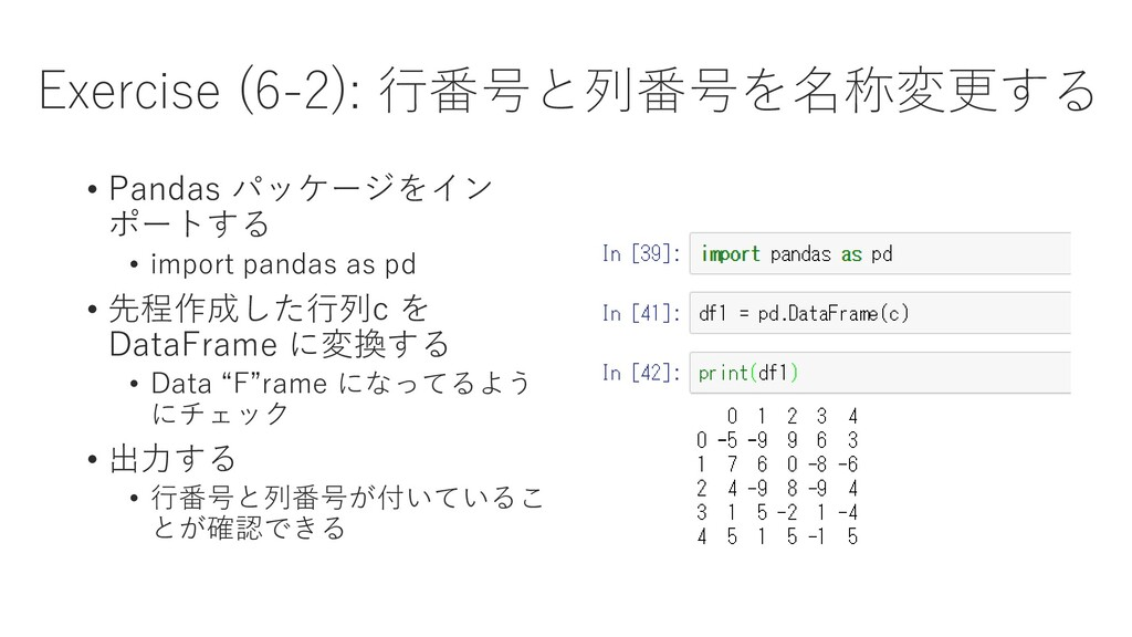 Exercise (6-2): 行番号と列番号を名称変更する • Pandas パッケージをイ...