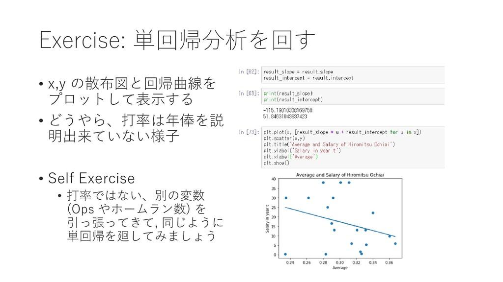 Exercise: 単回帰分析を回す • x,y の散布図と回帰曲線を プロットして表示する ...