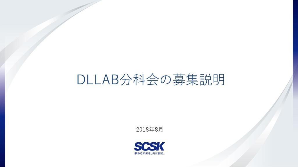 Copyright(c) SCSK Corporation 2018年8月 DLLAB分科会の...