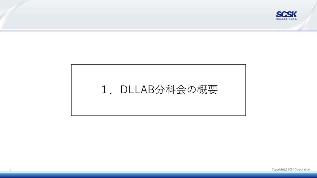 Copyright(c) SCSK Corporation 2 1.DLLAB分科会の概要