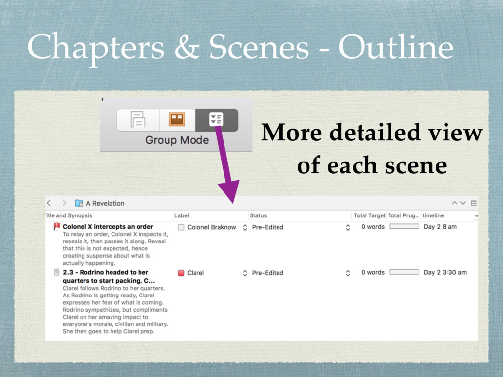 Chapters & Scenes - Outline More detailed view ...