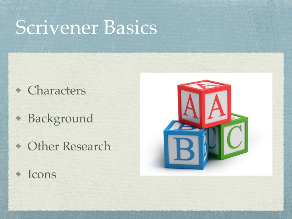 Scrivener Basics Characters Background Other Re...