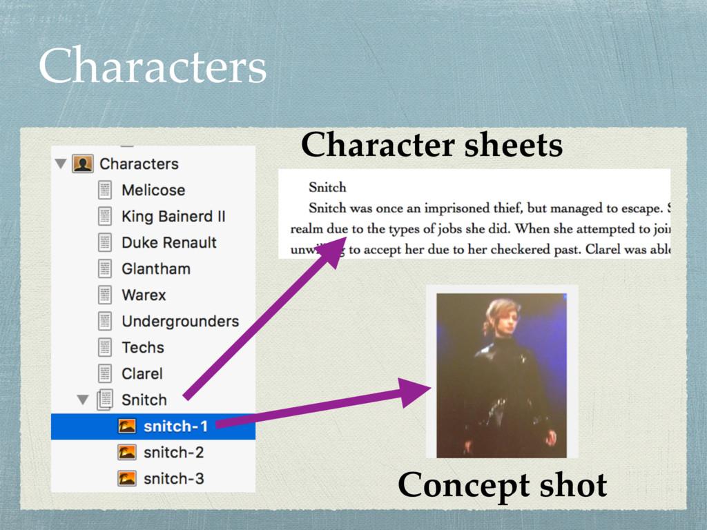 Characters Character sheets Concept shot