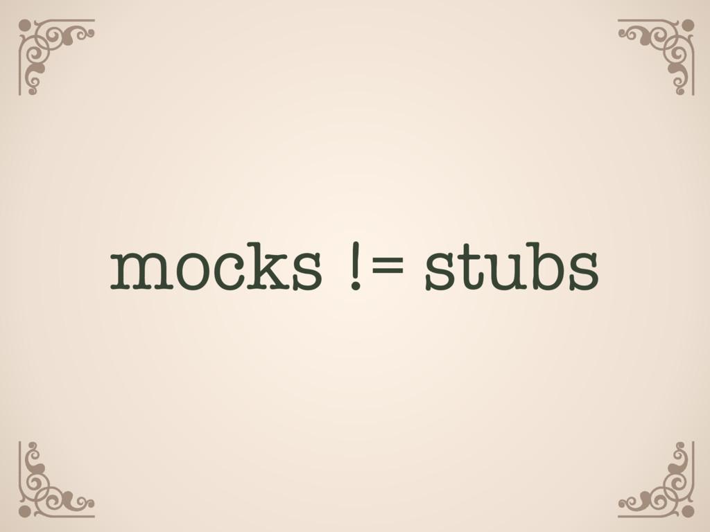 mocks != stubs
