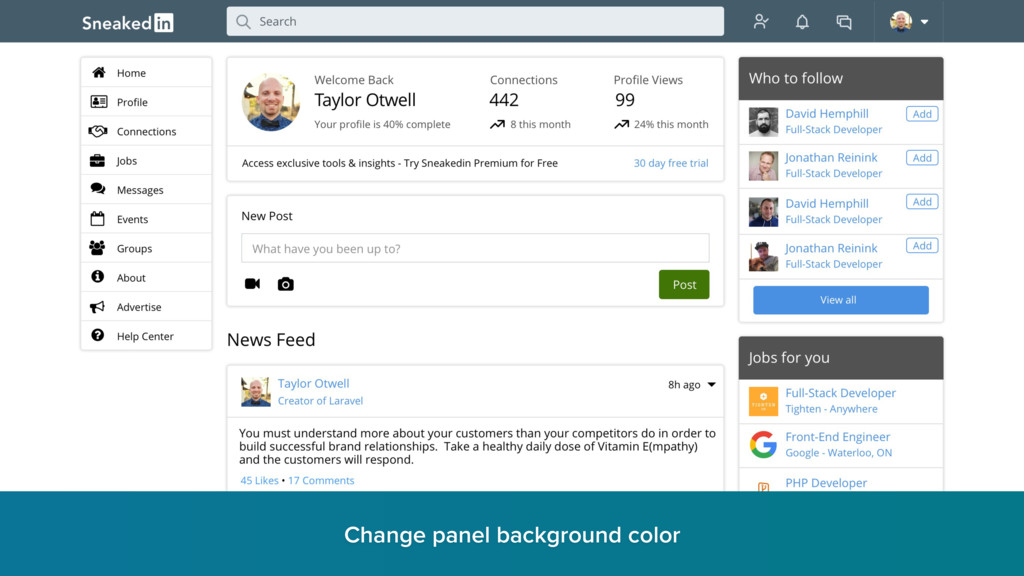 Change panel background color