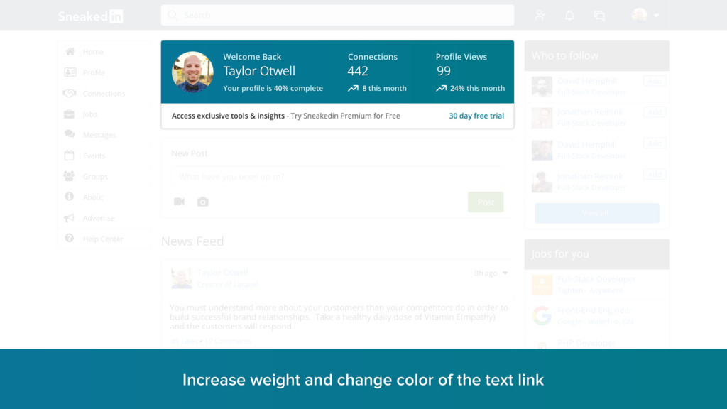 Increase weight and change color of the text li...
