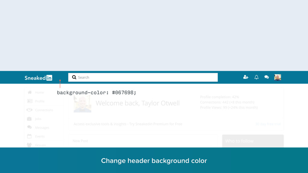 background-color: #067698; Change header backgr...