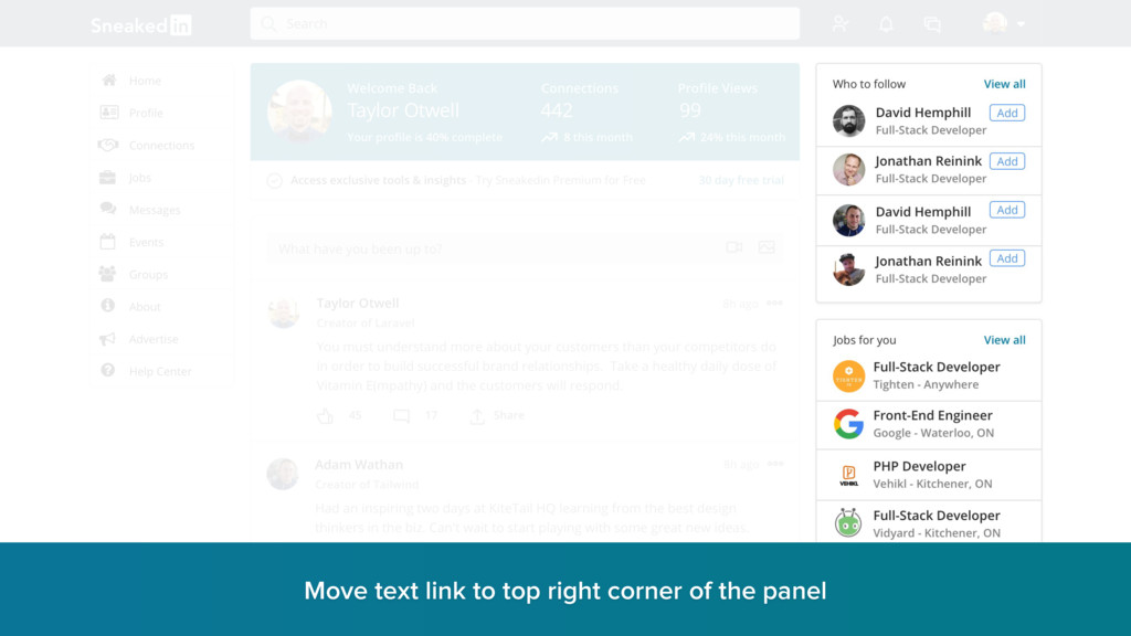 Move text link to top right corner of the panel...