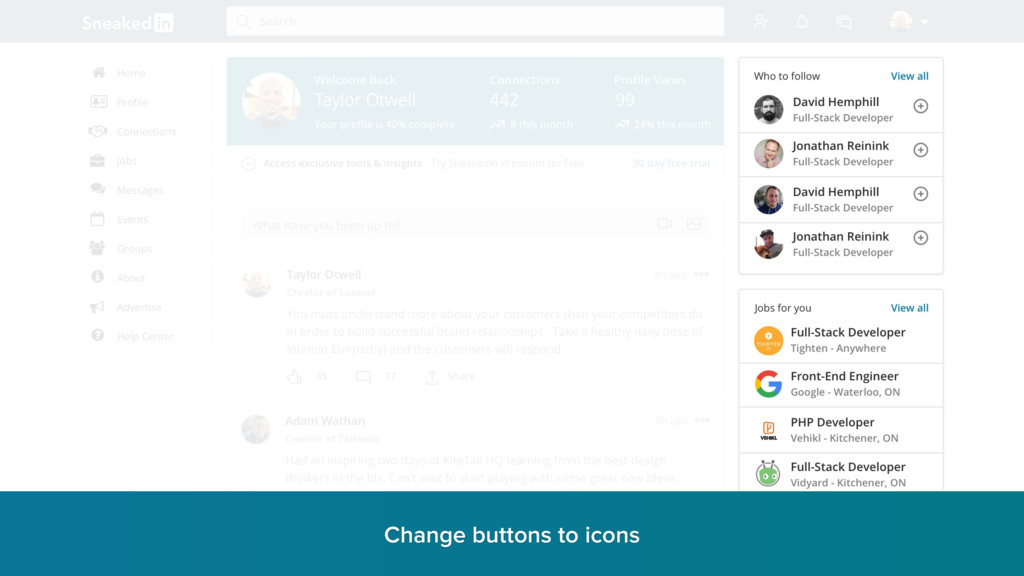 Change buttons to icons r